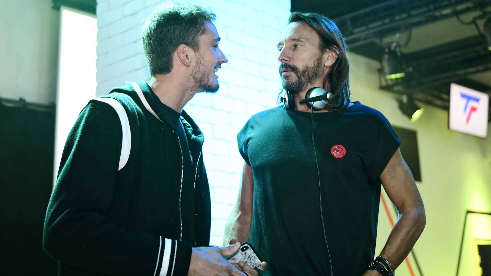 Daniil Medvedev and Bob Sinclar at Tecnifibre's 40th anniversary party